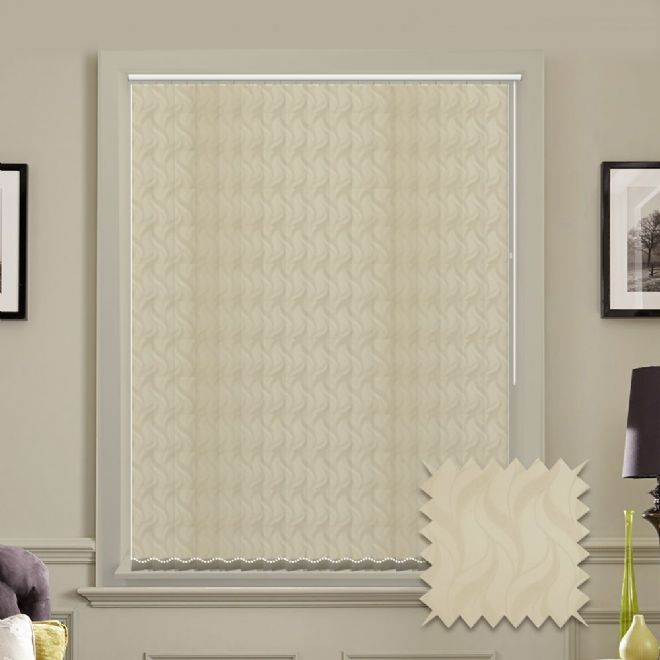 Made to measure vertical blind in Cream Jacamar Wave Pattern fabric - Just Blinds